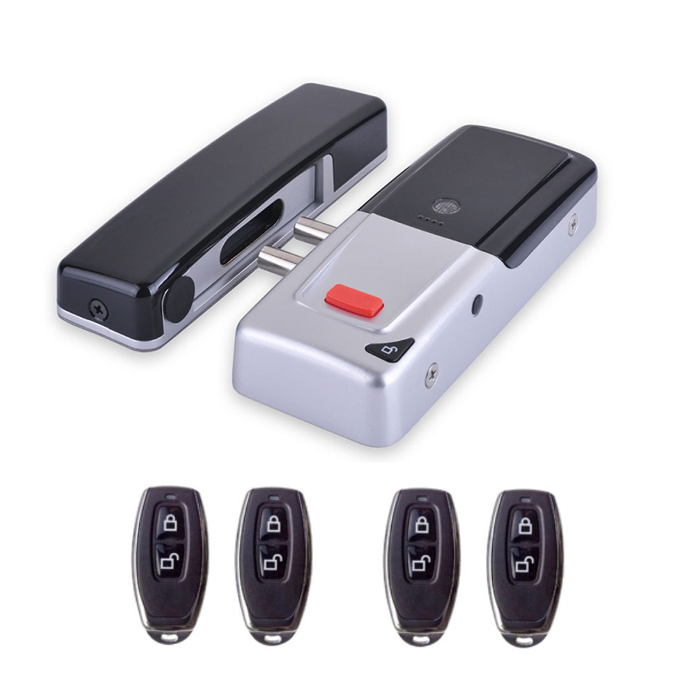 Bricolage batterie sèche furtif sans fil télécommande maison porte serrures serrure électronique intelligente + 4 télécommande