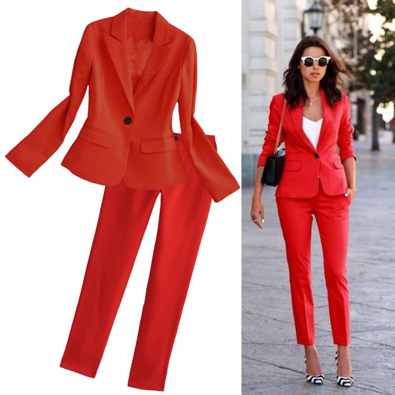 Red Women's Suit European And American Fashion Suit 2019 Spring New Slim Suit Jacket Nine Points Pants Two-piece Set  Women