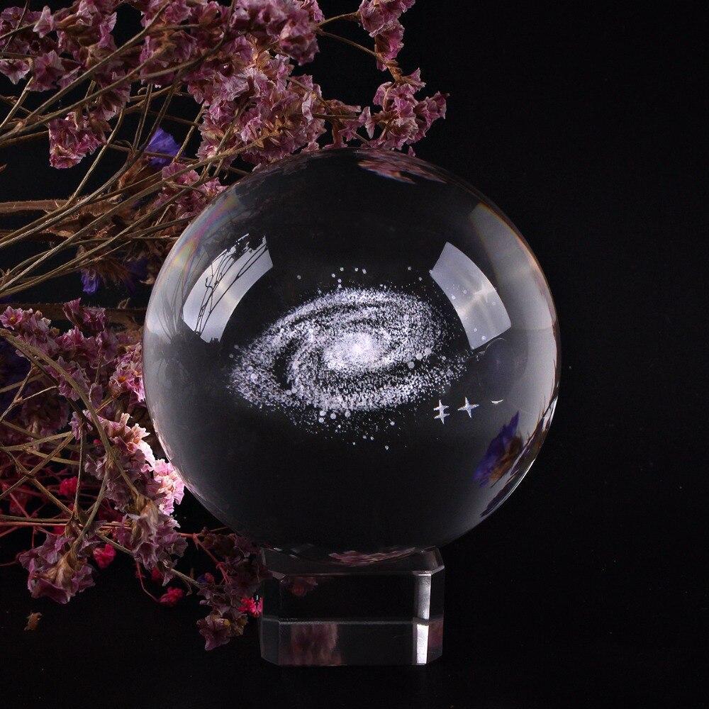 80mm Boule De Verre 3D Laser Gravé galaxy Boule de Cristal Feng Shui Globe Décoration de La Maison Accessoires Miniatures Cadeaux