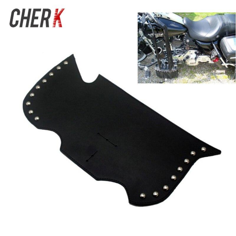 Cherk Black Leather Heat Saddle Shield Deflectors Raised Studs For Harley Davidson Touring Softail Dyna Or Sportster Bikes