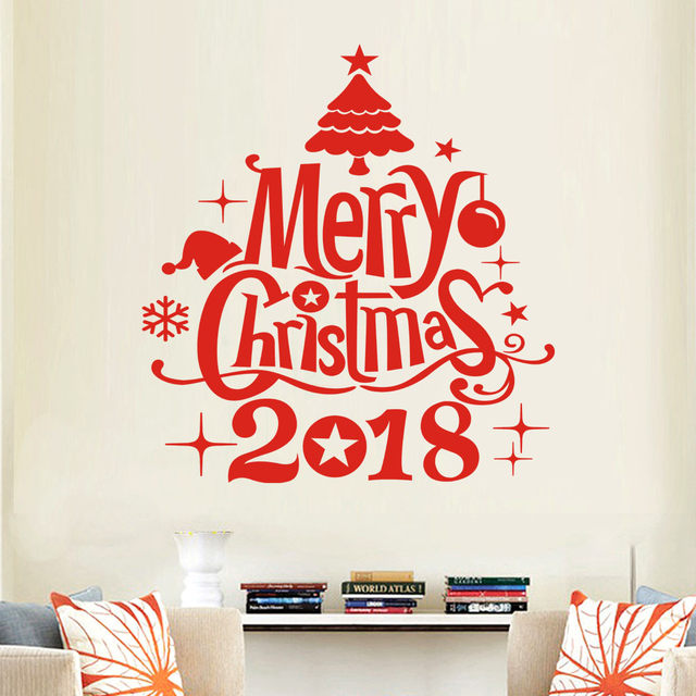 White And Red New Year 2018 Merry Christmas Wall Sticker Home Shop Windows  Decals Decor Stickers#28