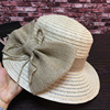 The New Spring And Summer Large Eaves Bucket Hat Big Bowknot Fine Linen Straw Hat Elegant