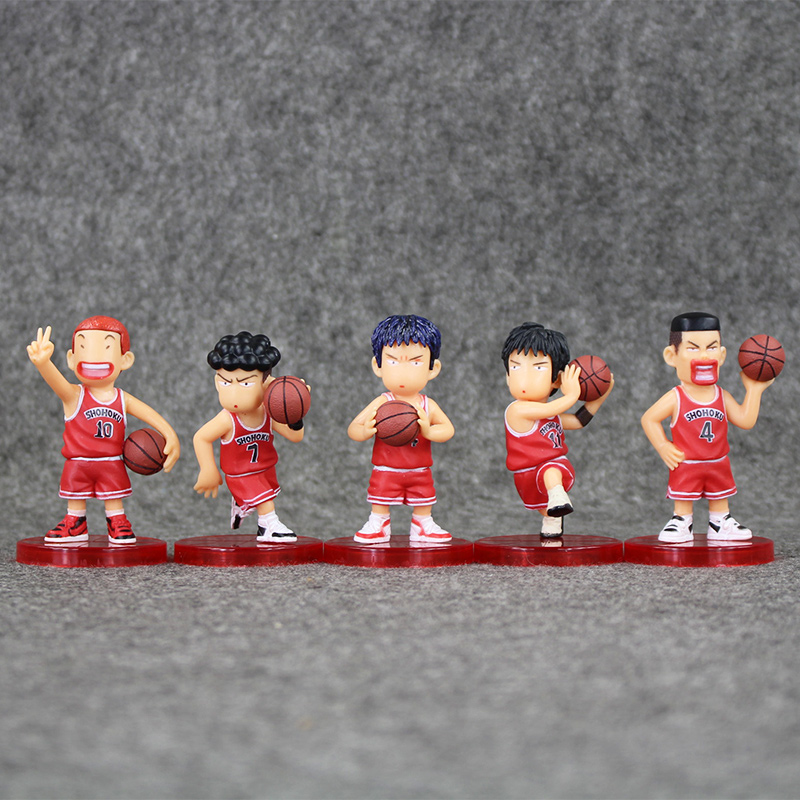 5pcs/lot SLAM DUNK Shohoku Basketball Player PVC Figure Toys Collection Model Doll Kild Gifts 7-7.5cm image
