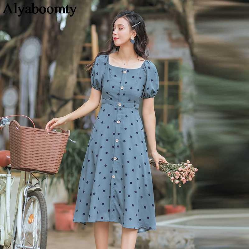 2019 летнее женское романтическое длинное платье Mori Girl в горошек пуговицы Mujer Vestidos с коротким рукавом Элегантное шифоновое шикарное женское платье