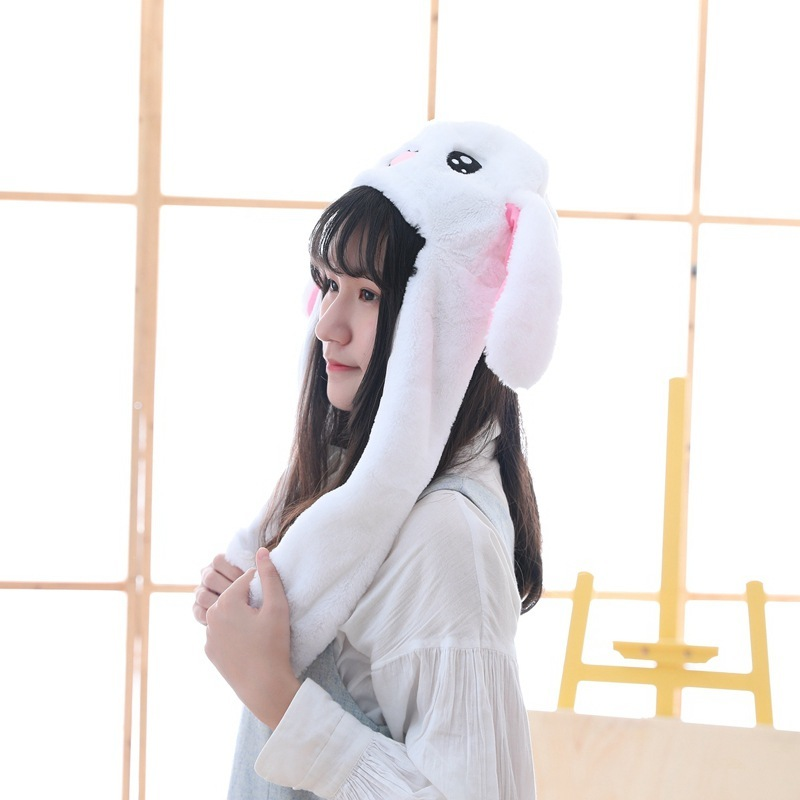 2019 Kids Cute Rabbit Plush Pinching Bunny Ear Hat Can Move Airbag Cap Toy Gift for Kids Girls Girlfriend in Plush Light Up toys from Toys Hobbies