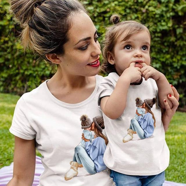 ZSIIBO Female T-shirt Famliy Matching clothes Girl Costume Mom Daughter Summer 2019 New short-sleeve Kids Boys Tops CX6L211