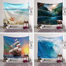 Sea Wave Rainstorm Tapestry Wall Hanging Large Ancient Halobios Sailboat White Beach Painting Tapestries Boho Yoga Beach Towels