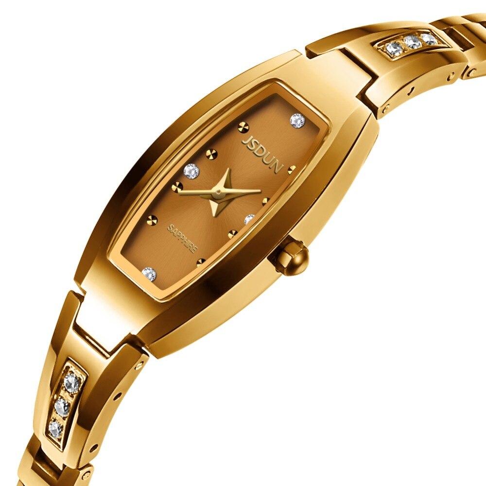 Montre en or JSDUN marque saphir synthétique miroir tungstène acier femmes montres 30 M étanche montre-bracelet à Quartz Relogio Feminino