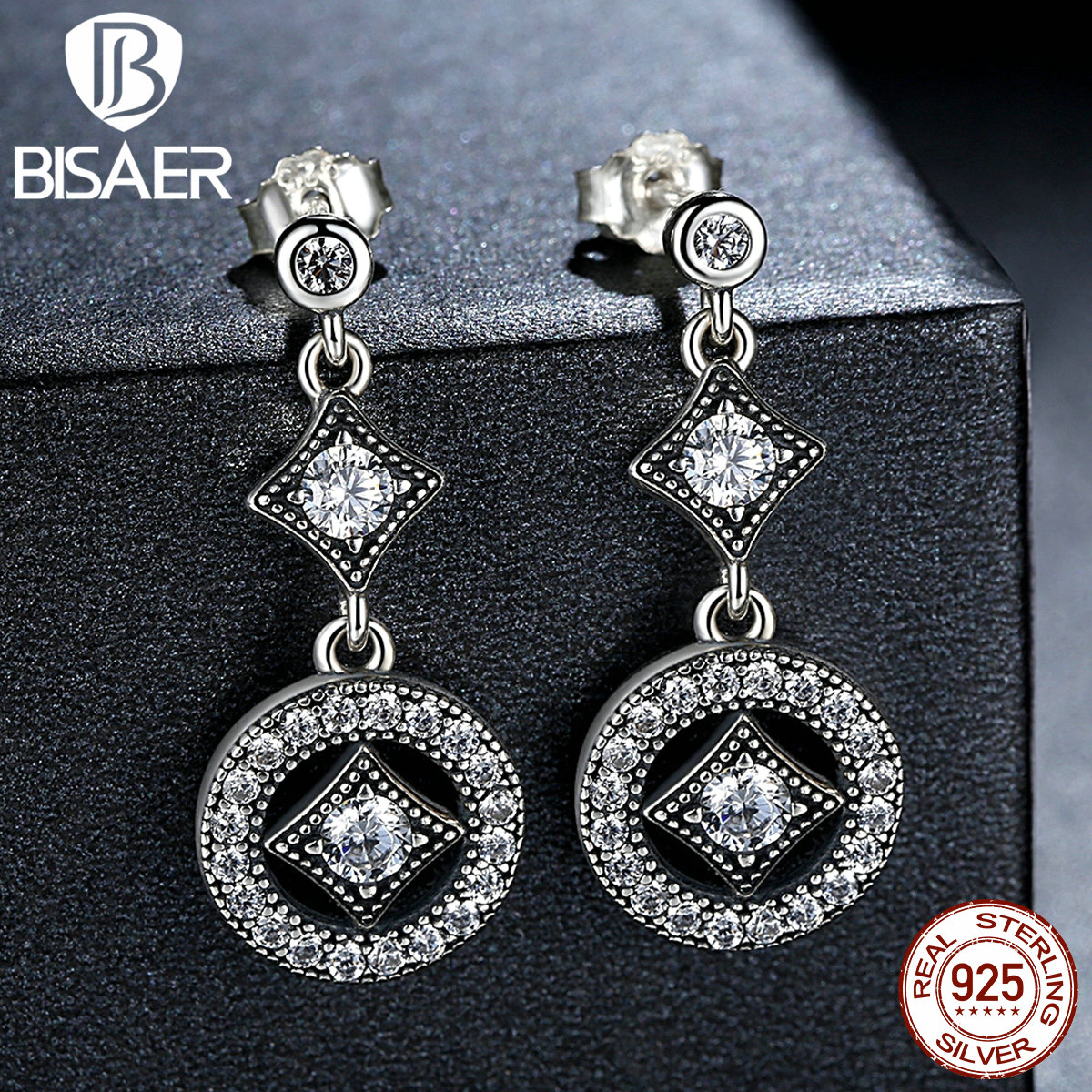 Real 925 Sterling Silver Drop Earrings AAA Zircon Round Long Earrings for Women European Fashion Authentic Silver Jewelry GOS492
