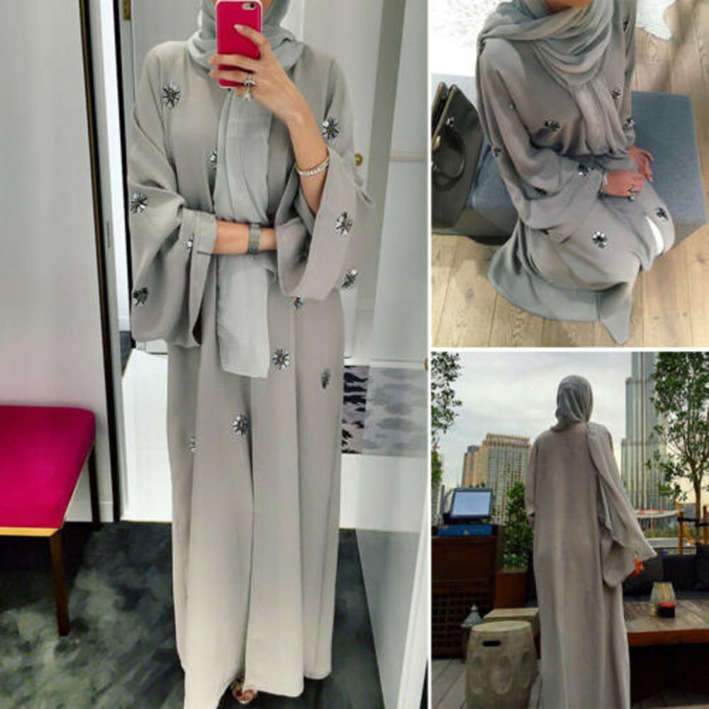 Embroidery Abaya Robe Maxi-Dress Kaftan Open-Cardigan Ramadan Dubai Muslim Women Plus-Size