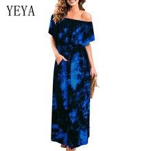 YEYA Tie-dyed Print Vintage Slit Pocket Dress Women Holiday Beach Maxi Summer Elegant Party Club Robe Plus Size XXL