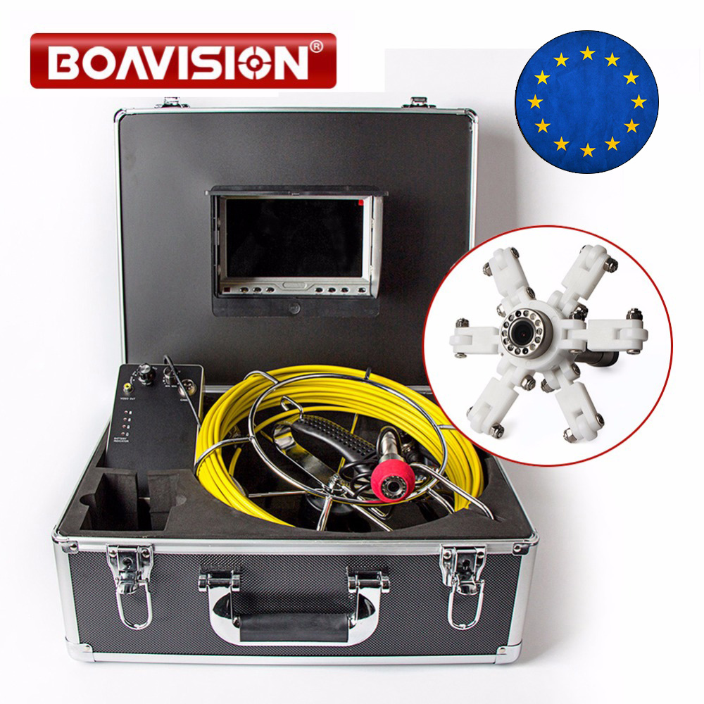 20m Cable Underwater Video Duct Pipe Inspection Camera CMOS 1000TVL 12Pcs White LED Lights Sewer Camera 7 Inch LCD Monitor image