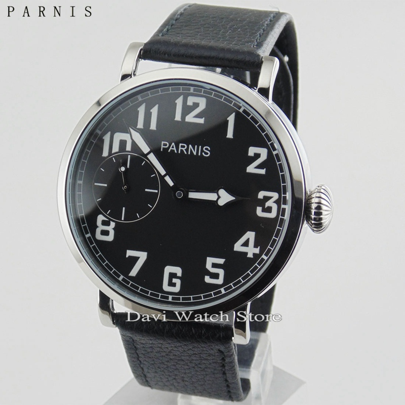 Symbol Of The Brand 47mm Parnis White Dial Stainless Steel Case Leather Strap Top Brand Luxury Newest St 6497 Mechanical St Manual Wind Mens Watch Men's Watches