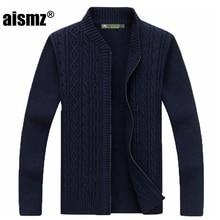 Aismz Cardigan Sweater Men Clothes 2018 Pull Homme Sueter Hombre Slim Men's Autumn Winter Fashion Zipper Cardigan Collar Roupas