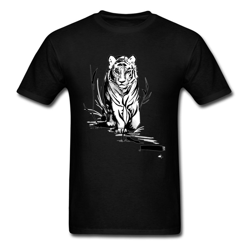 Casual Ink Flow Tiger Men T-Shirt Classic Father Day Short Sleeve O Neck All Cotton Tees Gift Tee Shirt Drop Shipping