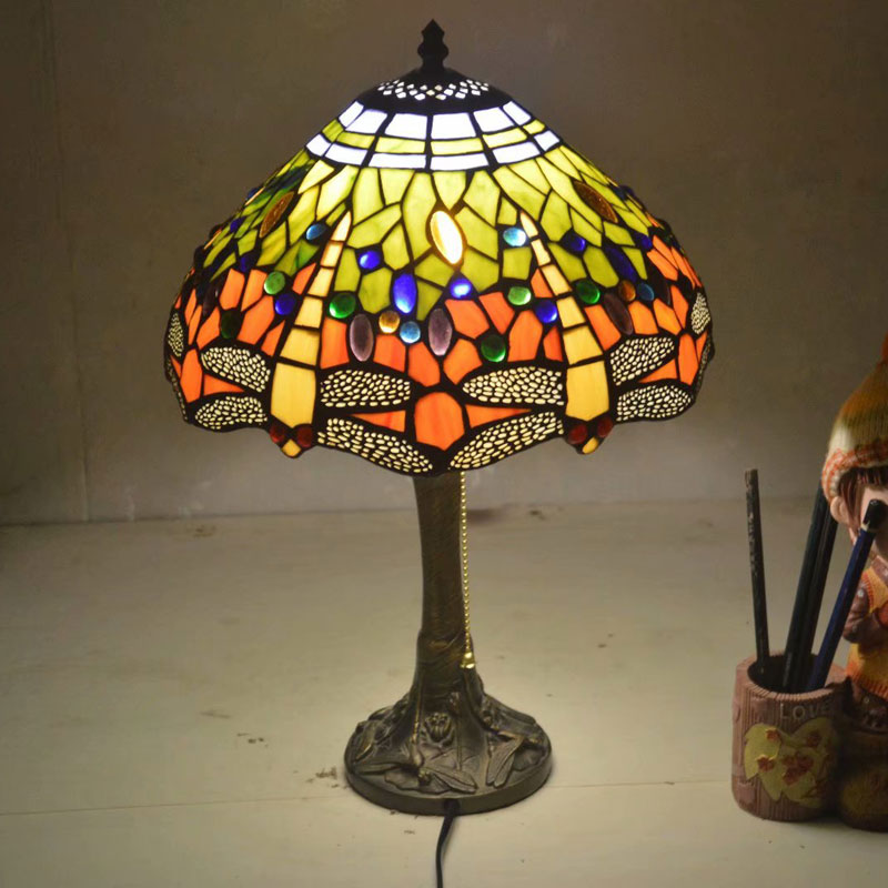 Nice 12 Inch Stained Glass Table Lamp For Study Room Bar Restaurant Alloy Base Dest Lamps Mediterranean Style 0089 Desk Lamps