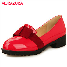 Morazora/Большой Размер 34–43 квадратный Женские туфли-лодочки на низком каблуке с круглым носком с бантом-бабочкой Летняя женская однотонная обувь для девочек