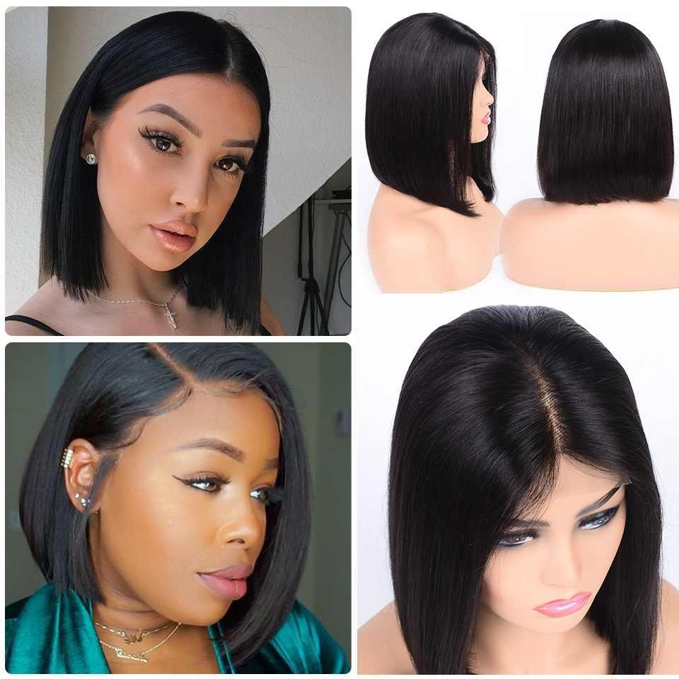 Парики из натуральных волос на коротком кружевном фронте бразильские прямые парики с Бобом предварительно выщипанные волосы натуральные парики для черных женщин волосы alipearl парик