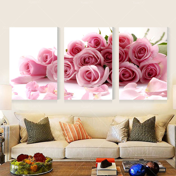 3 Panel Modern Printed Rose Flower Painting Canvas Cuadros Flowers ...