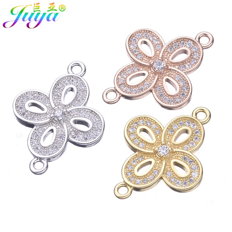 Juya DIY Women Fashion Bracelet Necklace Earring Making Findings Supplies For Micro Pave CZ Flower Connector Charms Accessories