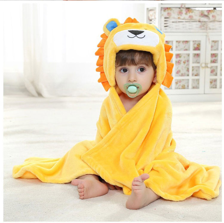 Baby Cartoon Fluffy Fleece Blanket Baby Bath Towel Kids Boys Girls Hooded Towel Bathrobe Cloak Infant Receiving Blanket