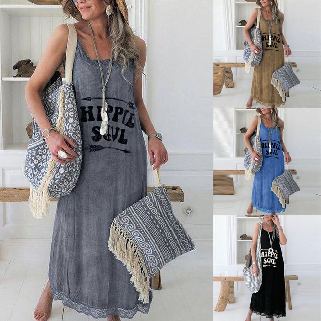 Summer New Fashion Women Letter Printed Tank Top Dress Sleeveless O-Neck Casual Lace Long Dress Wholesale Free Ship платье Z4