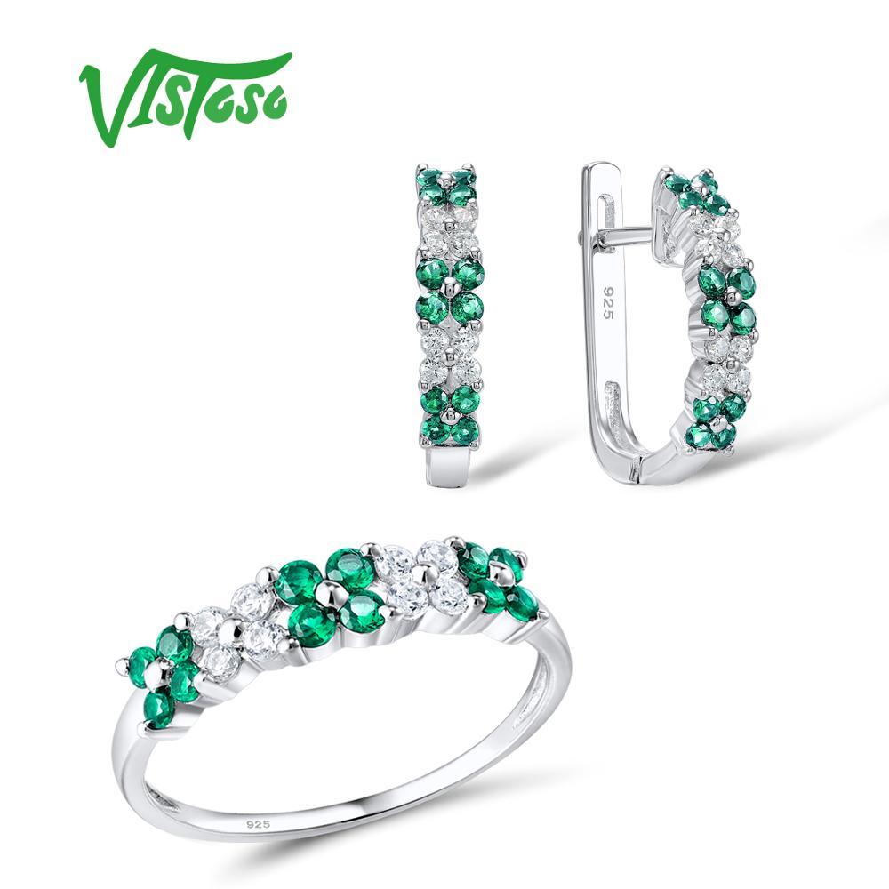 VISTOSO Bijoux Ensembles Pour Femme Vert Spinelles Blanc CZ Pierres Bijoux Ensemble Boucles D'oreilles Anneau 925 Mode D'argent Sterling Bijoux