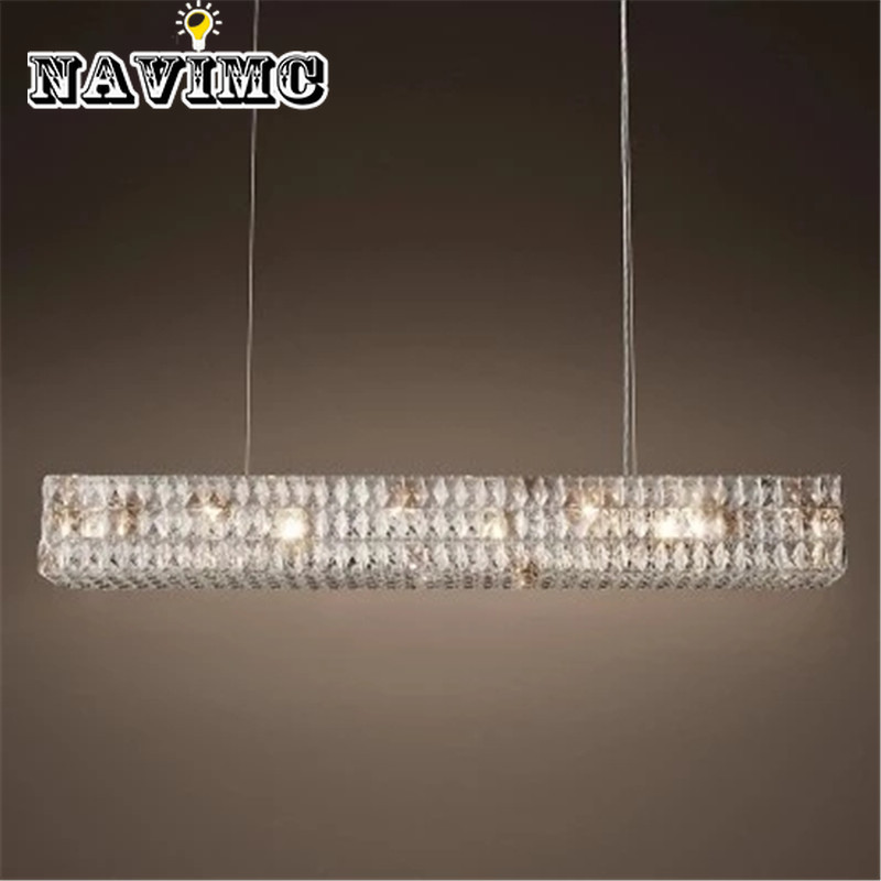 Retro American Crystal Pendant Light Rectangular Iron For Dining Room Restaurant Bedroom Study Room Living Room LED E14 bulbs