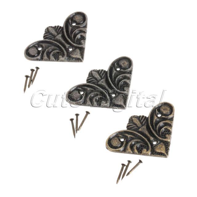 Charmant 12PCS Bronze Luggage Case Box Corners Brackets Vintage Metal Jewelry Decorative  Corner Bracket Furniture Decor Hardware