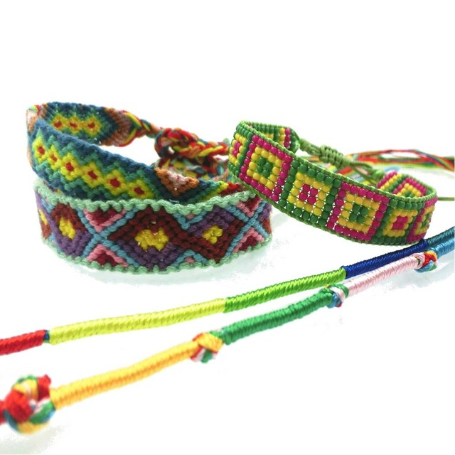 Amiu Jewelry Bohemian Weave Cotton Seed Beads Bracelet Woven Rope String Handmade Bracelets Ng Sets 5pcs