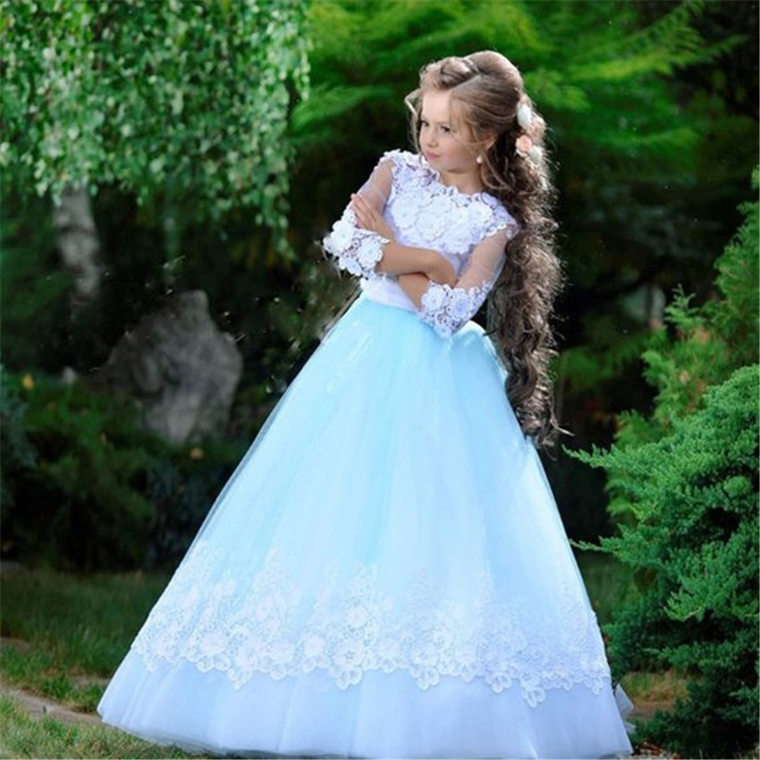 Three Quarter   Flower     Girl     Dress   With Handmade   Flowers   Mesh Lace Beading Pageant Gowns Prom   Dress   Prepared For 2-14Y   Girls   Longo