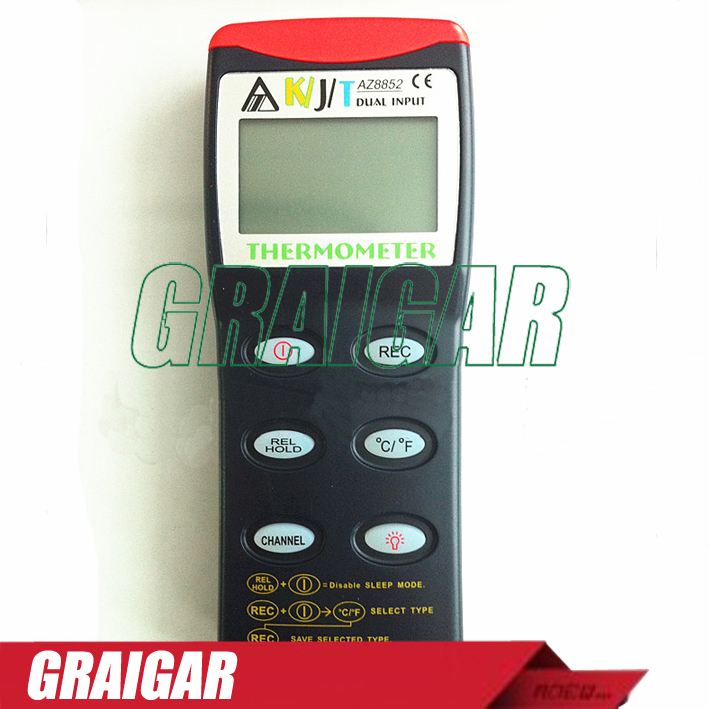 Thermocouple digital thermometer (KTJ probe) AZ-8852,8852 K/J/T Thermometer-Dual az 8851 3 in 1 portable k j t single thermocouple thermometer meter thermometer tester