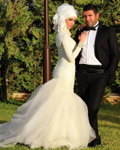 Jark Tozr Custom Made Long Sleeves Appliques Beading Vintage Mermaid Muslim Wedding Dresses With Hijab Bride Gown Plus Size