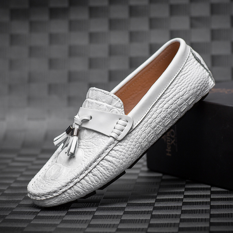 Luxufy Brand Men Loafers Tassel Driving Shoes Genuine Leather Men Flats Breathable Casual Shoes Male Moccasins Blue White Black brand best quality genuine leather men flats casual shoes soft loafers comfortable driving shoes men breathable shoes