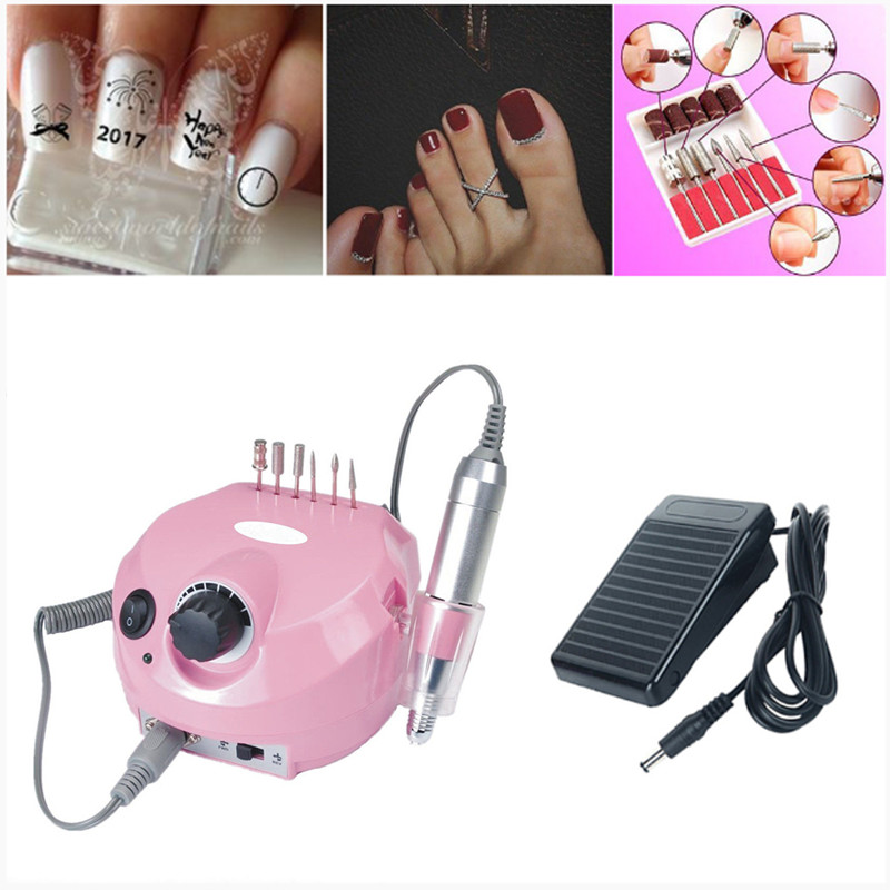 Pinkiou 35000 RPM Electric Nail Drill Machine Set with Bit Nail Buffer File Kit for Manicure Polish cuticle remover Pedicure nail clipper cuticle nipper cutter stainless steel pedicure manicure scissor nail tool for trim dead skin cuticle
