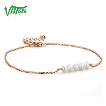 Rose Gold Freshwater White Pearl Bracelet 1