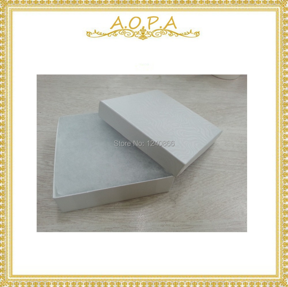 33W High Grade Nice Gift 50pcs White Swirl Cotton Filled Paper Box For Jewelry Display