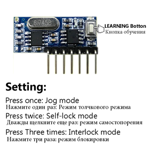Image 2 - QIACHIP 2pcs 433 Mhz Remote Control + 433Mhz Wireless Receiver Learning Code 1527 Decoding Module 4Ch Output Learning Button DIY