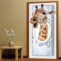 3D Hayvan Zürafa Kapı Çıkartmalar Yatak Oturma Odası Banyo Kapı Çıkartmalar Dekorasyon Su Geçirmez Duvar Çıkartmaları