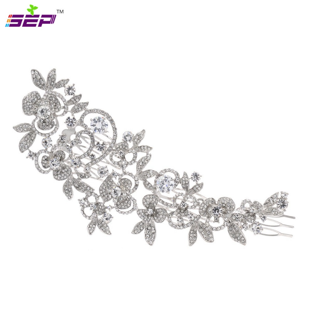 Long  Flower Hair Comb Wedding Hair Accessories Rhinestone Crystals Bridal Hairpin  Hair Jewelry FA5027