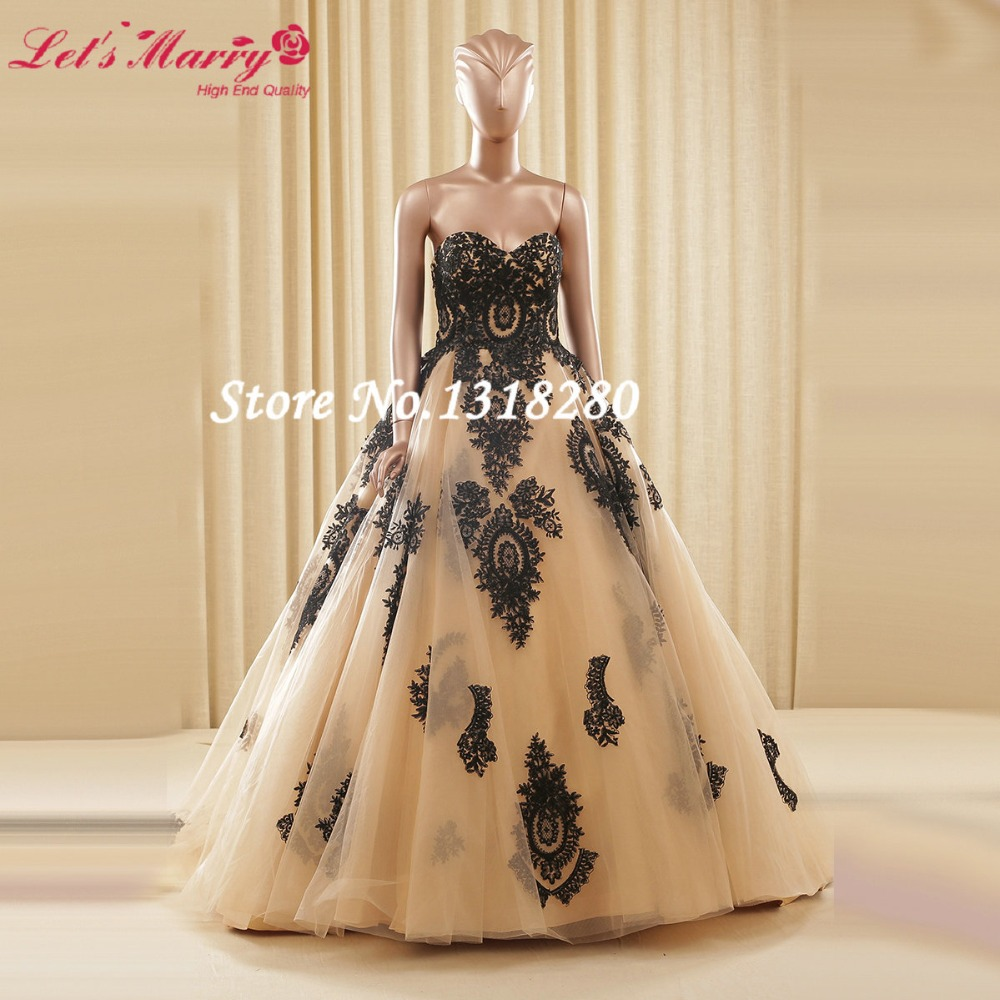 Custom Made Vintage Lace Hot Sale Gold Ball Gown Wedding dresses ...