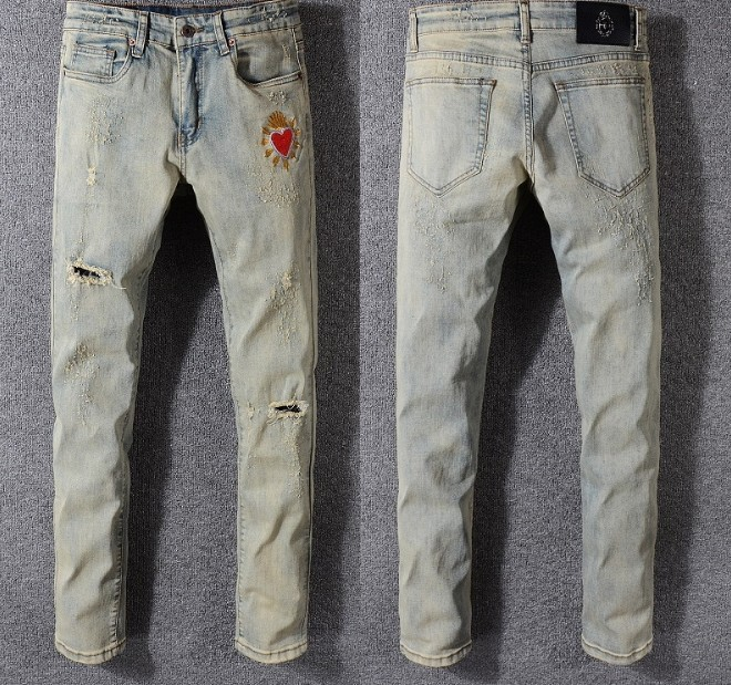 52f554bdb1 Moto Sizedistressed Hombres Acanalado Mens Estiramiento Pantalones  Champagne Adornado De Libre Slim Flacos Vaqueros Jeans Envío ...