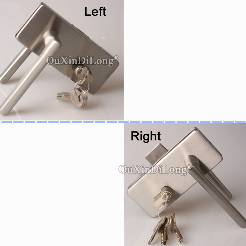 1PCS Stainless Steel door lock with handles office single door glass to wall lock for glass thickness 8 12mm JF1662 in Locks from Home Improvement