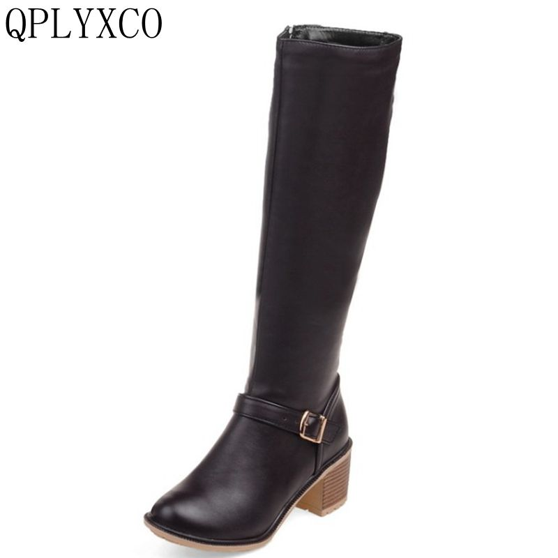QPLYXCO 2017 Riding boots Simple fashion Big Size 34-43 Winter style warm high heels Boots shoes Women's knee Boots C6-13