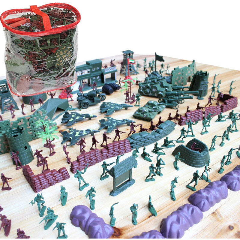 500Pcs Military Plastic Toy Soldier Army Men Figures & Accessories Playset Soldier Model Sandbox Game Model Toy For Kids Boys 170pcs set military plastic model toy soldier army men figures