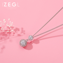 ZEGL crystal ball necklace clavicle chain silver collar jewelry chokers necklaces for women shuangshuo chain necklace chokers for women deer necklaces