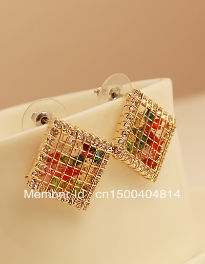 Spring new arrival fall in love high quality exquisite crystal stud earring