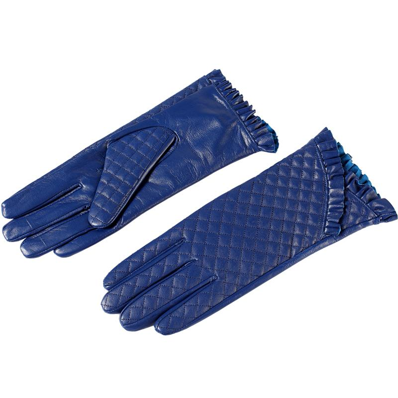 Image 2 - Gloves women,Genuine Leather,Cotton lining,blue leather gloves,leather gloves for women,Female gloves-in Women's Gloves from Apparel Accessories