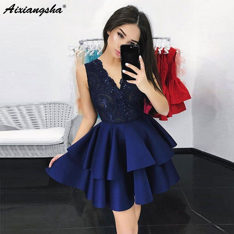 Chic V-Neck Lace Ruffles Satin 8 Grade Graduation   Dresses   vestidos de graduacion Short   Prom     Dress   Homecoming   Dresses