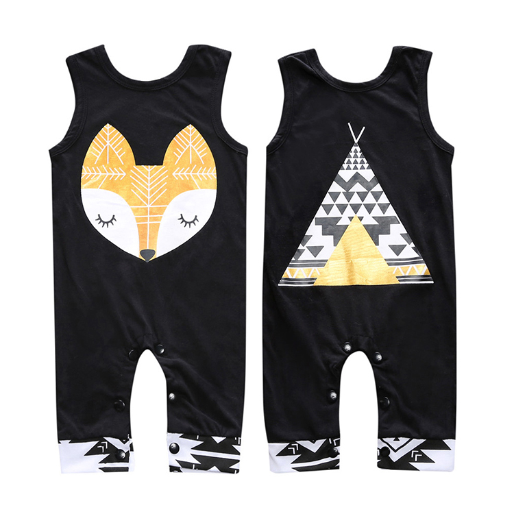 2018 Newborn Cotton Baby Boy Girl Clothes Sliders Sleeveless Rompers Cotton Overalls Cute Animals Clothes Bebe jumpsuit SR142